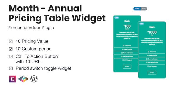 Month - Annual Pricing Table Widget For Elementor