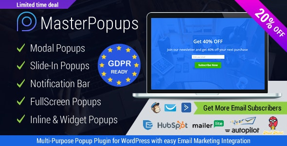 Popup Plugin for WordPress & Popup Editor - Master Popups for Email Subscription - CodeCanyon Item for Sale