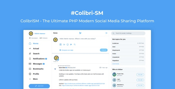 ColibriSM v1.2.0 – The Ultimate PHP Modern Social Media Sharing Platform