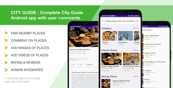 CITY GUIDE : Complete City Guide Android app with user comments - CodeCanyon Item for Sale