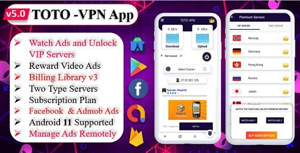 TOTO - VPN | VPN App | Facebook Ads | Admob Ads | Ads Manage Remotely | VPN  | VPN Subscription Plan