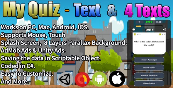 My Quiz - Text & 4 Texts (Unity Complete Project + AdMob Ads & Unity Ads)