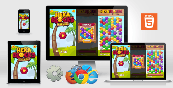 Swipe Match 3 Tile-Matching HTML5 Puzzle Game - Hexa Blocks Frenzy (no capx)