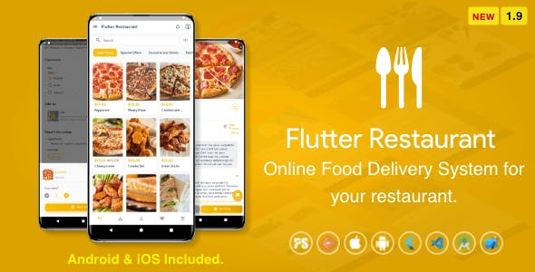 Flutter Restaurant ( Online Food Delivery System For iOS and Android ) 1.9