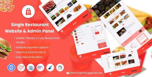 Single Restaurant -  Laravel Website & Admin Panel