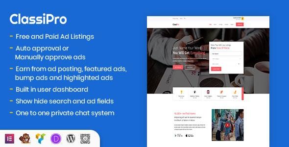 Classipro - Classified Ads WordPress Plugin - CodeCanyon Item for Sale
