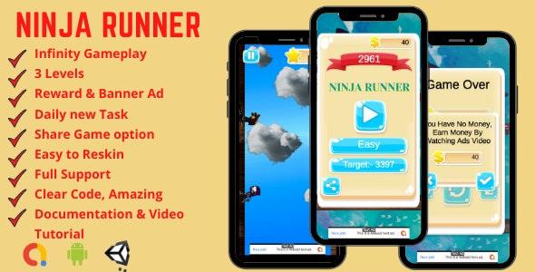 Ninja Runner - Endless Android Game Template + Admob - CodeCanyon Item for Sale