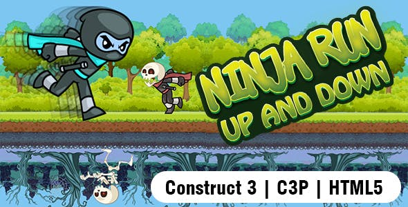 Ninja Run Up and Down Game (Construct 3   C3P   HTML5) Admob and FB Instant Ready.