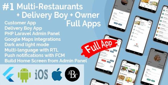 Multi-Restaurants Flutter App + Delivery Boy App + Owner App + PHP Laravel Admin Panel + Web Site