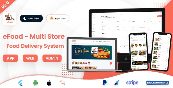 eFood - Food Delivery App with Laravel Admin Panel + Delivery Man App V3.0
