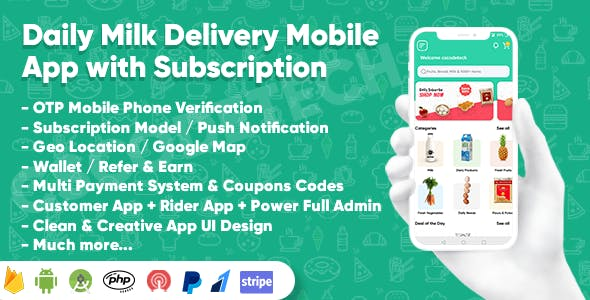 Dairy Products, Grocery, Daily Milk Delivery Mobile App with Subscription | Customer & Delivery App