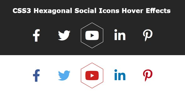 CSS3 Hexagonal Social Icons Hover Effects