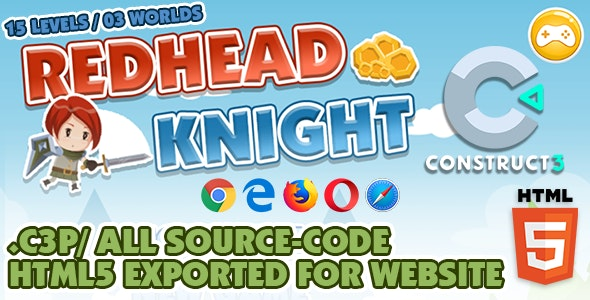 Redhead Knight - Platform / Side-scrolling HTML5 Game - Construct 3 - CodeCanyon Item for Sale