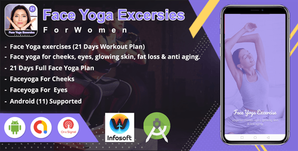 Android Face Yoga Excersies - 21 days (home workout) app - CodeCanyon Item for Sale