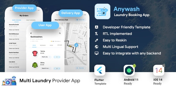 Multi Vendor Laundry Booking & Delivery App| Android + iOS App Template | 3 Apps | FLUTTER 2 Anywash - CodeCanyon Item for Sale