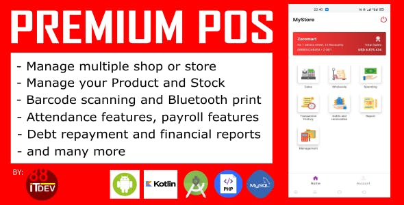Premium Point Of Sale (POS) Android and Rest API, php mysql, super complete features