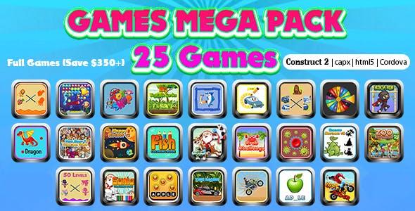 Games Mega Collection 02 (CAPX | HTML5 | Cordova) 25 Games