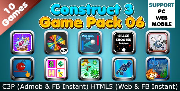 Game Collection 06 (Construct 3 | C3P | HTML5) 10 Games Admob and FB Instant Ready