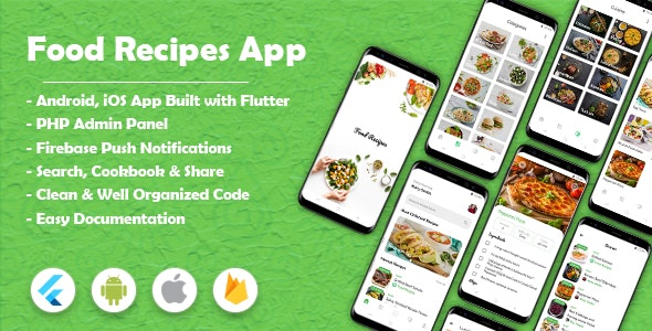 Food Recipes Flutter App (Android & iOS) - CodeCanyon Item for Sale