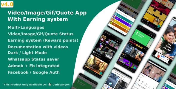 Video/Image/Gif/Quote App With Earning system (Reward points) v4.1