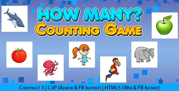 How Many Kids Educational Counting Game (Construct 3 | C3P | HTML5) Admob and FB Instant Ready