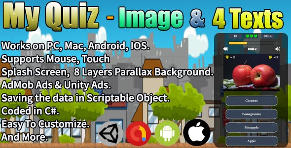 My Quiz - Image & 4 Texts (Unity Complete Project + AdMob Ads & Unity Ads)
