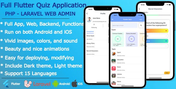 Flutter Quiz, Online Test, Quiz Online - Full Application including PHP Laravel WebAdmin