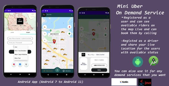 Mini Uber  RealTime Live Ride Sharing Application - Turn it into Any On Demand Service App