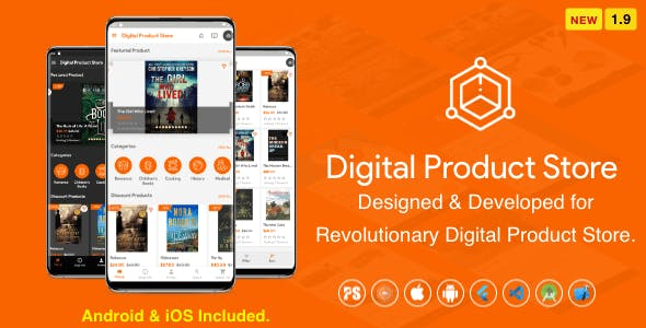 Digital Download Products Store For eBook, Video, Photo (Using Flutter For iOS and Android) 1.9