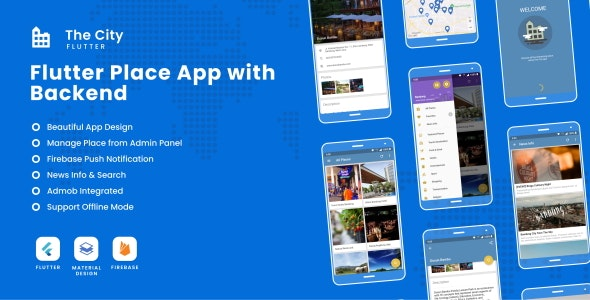 The City Flutter - Place App with Backend 1.0 - CodeCanyon Item for Sale