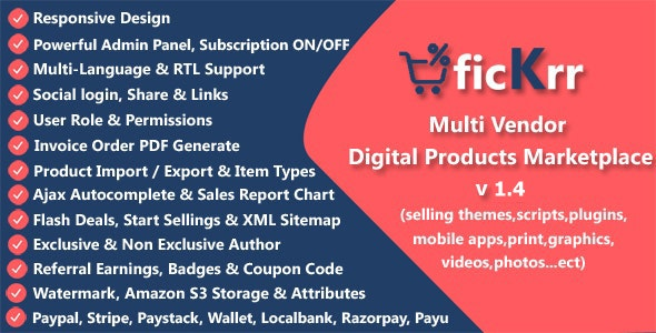 ficKrr - Multi Vendor Digital Products Marketplace with Subscription ON / OFF