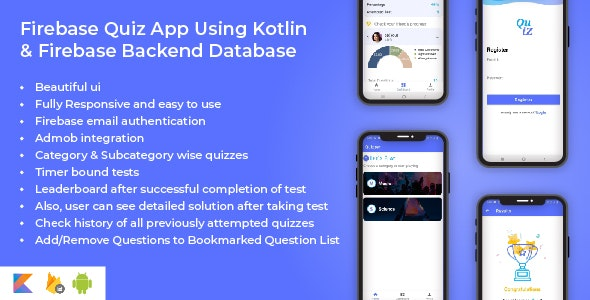Firebase Quiz Android App Using Kotlin - CodeCanyon Item for Sale
