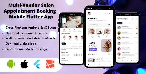 Multi-Vendor Salon Appointment Booking App - Flutter UI Kit - CodeCanyon Item for Sale