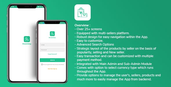 Multi-seller eCommerce MRetailshop Android Application with Main Admin and Seller SubAdmin