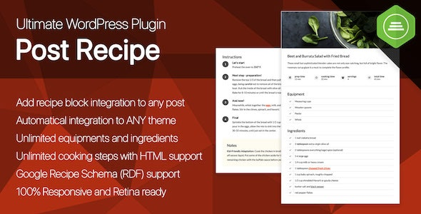 Ultimate Post Recipe v1.0.0 – Responsive WordPress Posts Cooking Recipes plugin