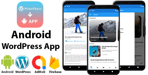 Android WordPress App for Blog and News Site with AdMob, Firebase Push Notification