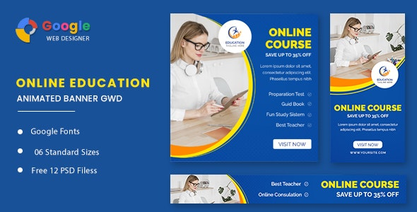 Online Course Animated Banner GWD - CodeCanyon Item for Sale
