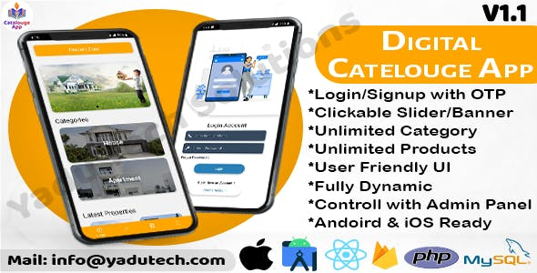 Multipurpose Digital Catalogue Android & iOS App with Website and Admin Panel V1.1