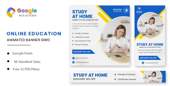 Education Online Animated Banner GWD - CodeCanyon Item for Sale