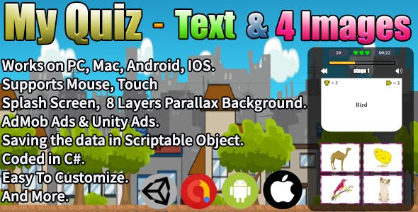 My Quiz - Text & 4 Images (Unity Complete Project + AdMob Ads & Unity Ads)