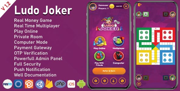 Ludo Joker With Online Multiplayers Real Money Game(Android + IOS)