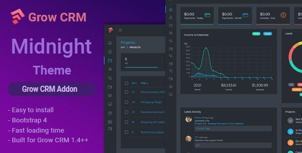 Midnight - Grow CRM Dark Theme Addon