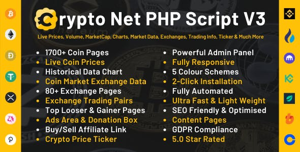 Crypto Net - Cryptocurrency CoinMarketCap, Prices, Chart, Exchanges, Market Data & Ticker PHP Script