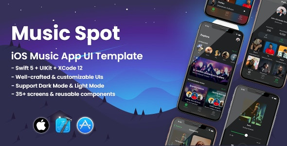 Music Spot - Mobile iOS Music Streaming UI Template - CodeCanyon Item for Sale