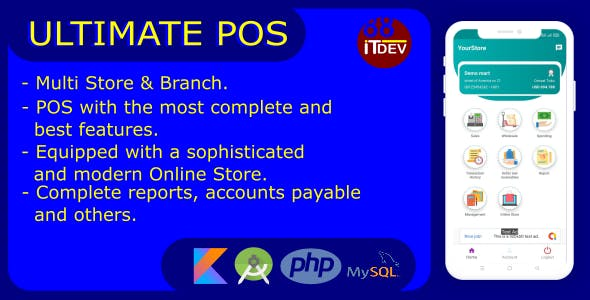 Ultimate Point Of Sales (POS) complete package, Android and Online Store with rest api php mysql