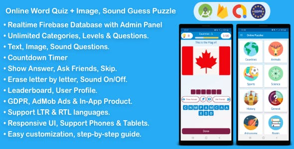 Online Word Quiz + Image Guess + Sound Guess Puzzle Game for Android