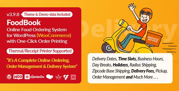 FoodBook | Online Food Ordering & Delivery System for WordPress with One-Click Order Printing