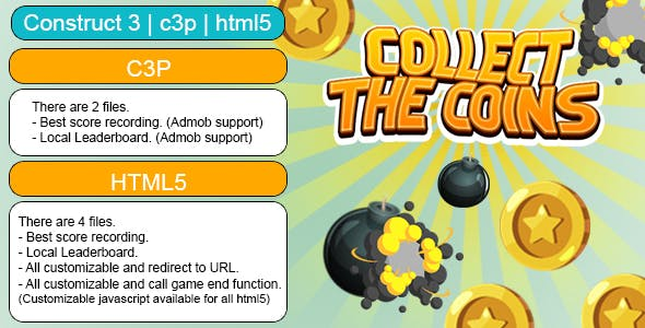 Collect The Coins Game (Construct 3 | C3P | HTML5) Customizable and All Platforms Supported