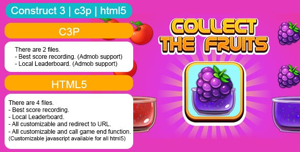 Collect The Fruits Game (Construct 3 | C3P | HTML5) Customizable and All Platforms Supported