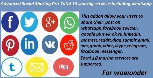 Advanced Social Sharing Pro For WoWonder – 9 June 2021